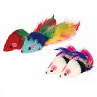 Игрушка мышка с перьями 12см (10-2)
