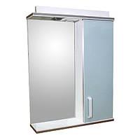Дзеркало 55 для ванної кімнати з підсвічуванням і шафкою Дебют Перфект мотиль бірюза
