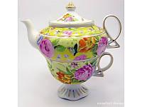 """Сервиз фарфор (3TA1073-4) 1 чайник + 1 чашка """"Цветы на желтом фоне"""" (200/400 мл чашка/чайник) ( 25678)"""