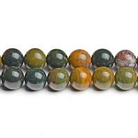 Океаническая Яшма, Натуральный камень, На нитях, бусины 8 мм, Шар, Отверстие 1 мм, количество: 47-48 шт/нить