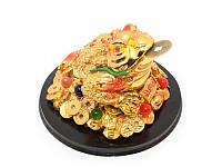 """Жаба на монетах с камнями """"золото"""" (13,5х13,5х8,5 см) ( 21892)"""