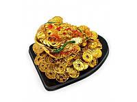 "Жаба на подставке каменная крошка ""золото"" (12х9х8 см) ( 29591)"