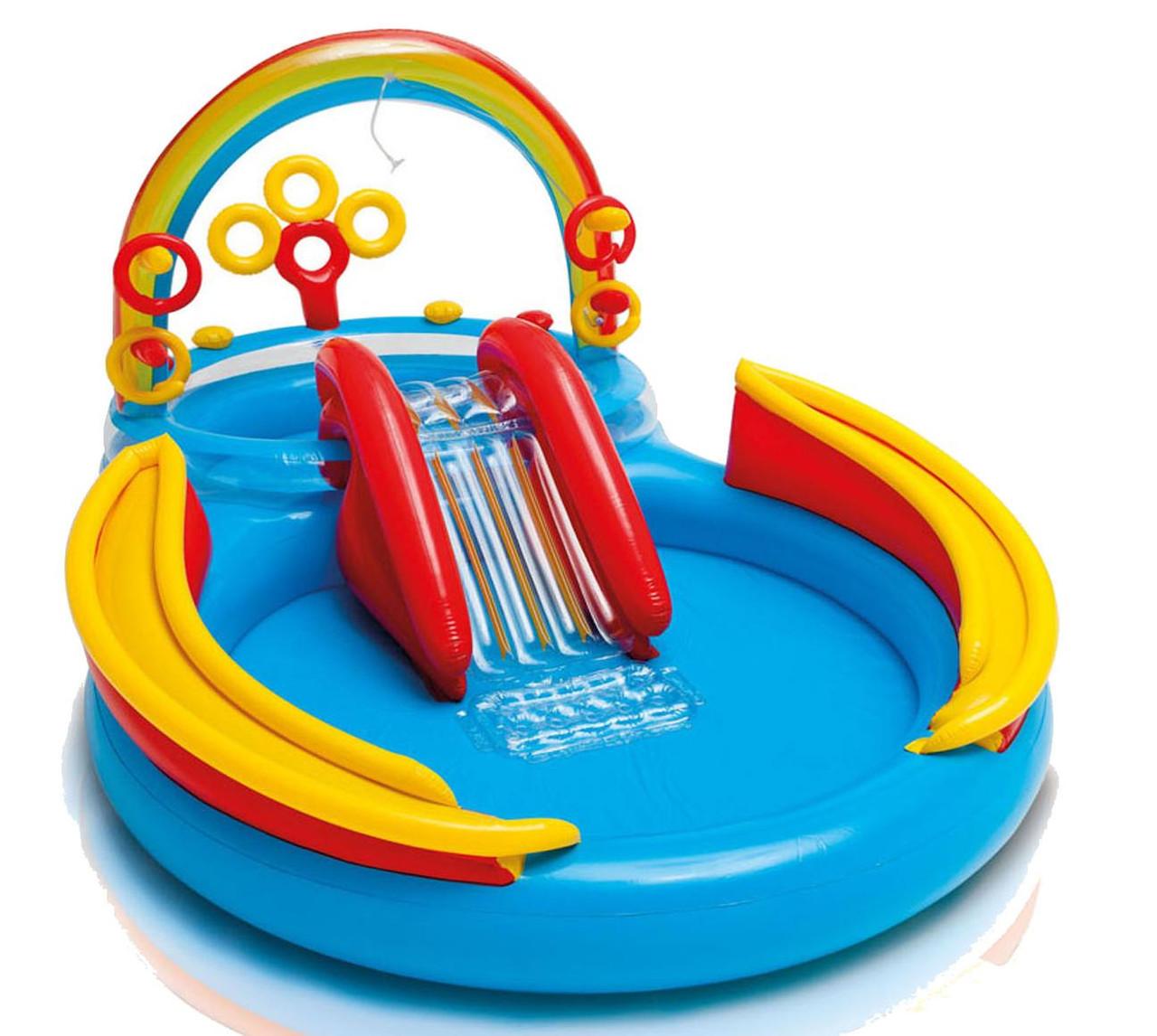 Надувной детский игровой центр - бассейн Intex 57453 Радуга (297х193х135см)