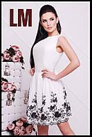 Размер 42,44,46,48,50 Женское летнее белое платье Гаити батал с цветами красивое короткое вечернее по фигуре