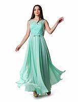 Вечернее платье с легкой шифоновой юбкой и гипюровым верхом с 44 по 50 размер