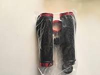Велосипедные грипсы волна с алюминиевыми красными фиксаторами, фото 1