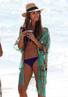 Пляжная накидка / туника на пляж зеленая с узорами