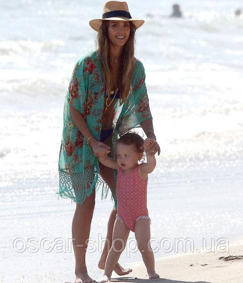 e821f2d4f97 Пляжная накидка   туника на пляж зеленая с узорами