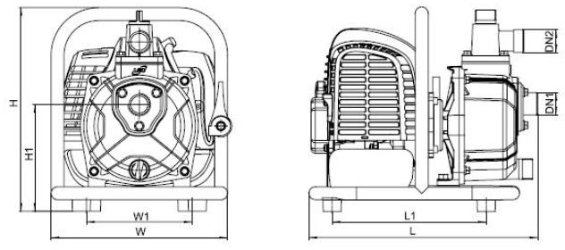 Бензиновая мотопомпа Aquatica 772504 размеры_2