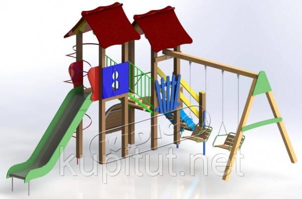 Детский комплекс Авалон с металической горкой H-1,5 м DK02715G