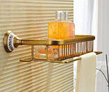 Полочка настенная с вешалкой и крючками в ванную бронза 0335, фото 2