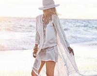 Пляжна накидка / туніка на пляж з мереживом, фото 1