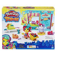 Игровой набор с тестом для лепки Магазинчик домашних питомцев Play Doh Town Hasbro, фото 1