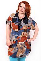 Летняя рубашка большого размера  ШЕЙЛА ИНЬ-ЯНЬ ТМ Ирмана 54-68 размеры