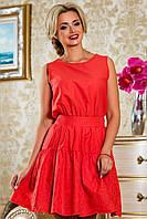 женское летнее коралловое платье
