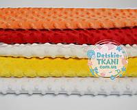 Набор отрезов плюша минки: молочный, жёлтый, белый, оранжевый, красный (30*30)
