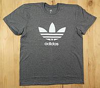 """Серая мужская футболка 100% хлопок """"Adidas"""" с логотипом  ФМ-35"""