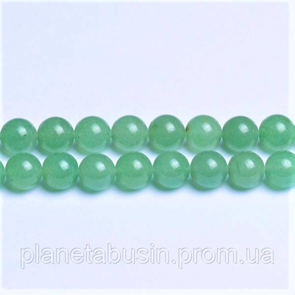 6 мм Зелёный Авантюрин, Натуральный камень, На нитях, бусины 6 мм, Шар, количество: 60-62 шт/нить