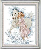 Девушка и лошадь Набор для вышивки крестом с печатью на ткани 14ст