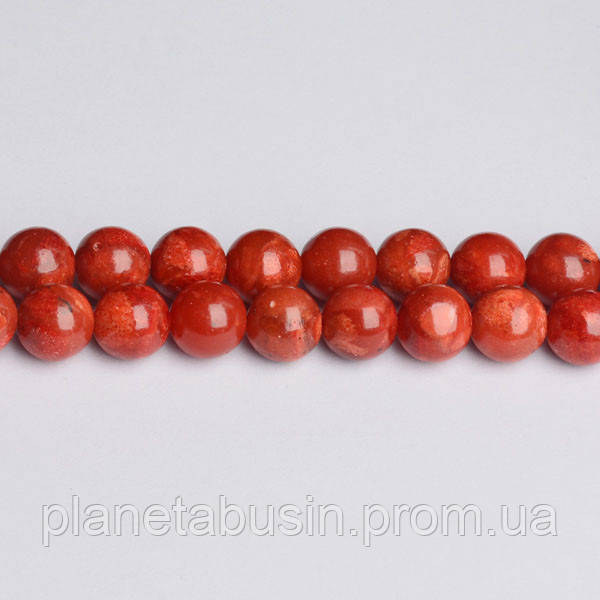 8 мм Красный Губчатый Коралл, CN207, Натуральный камень, Форма: Шар, Отверстие: 1мм, кол-во: 47-48 шт/нить