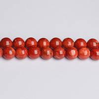 Красный Губчатый Коралл, Натуральный камень, На нитях, бусины 8 мм, Шар, Отверстие 1 мм, кол-во: 47-48 шт/нить