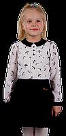 Блузка для девочки школьная Вика 116-170 см принт журавли