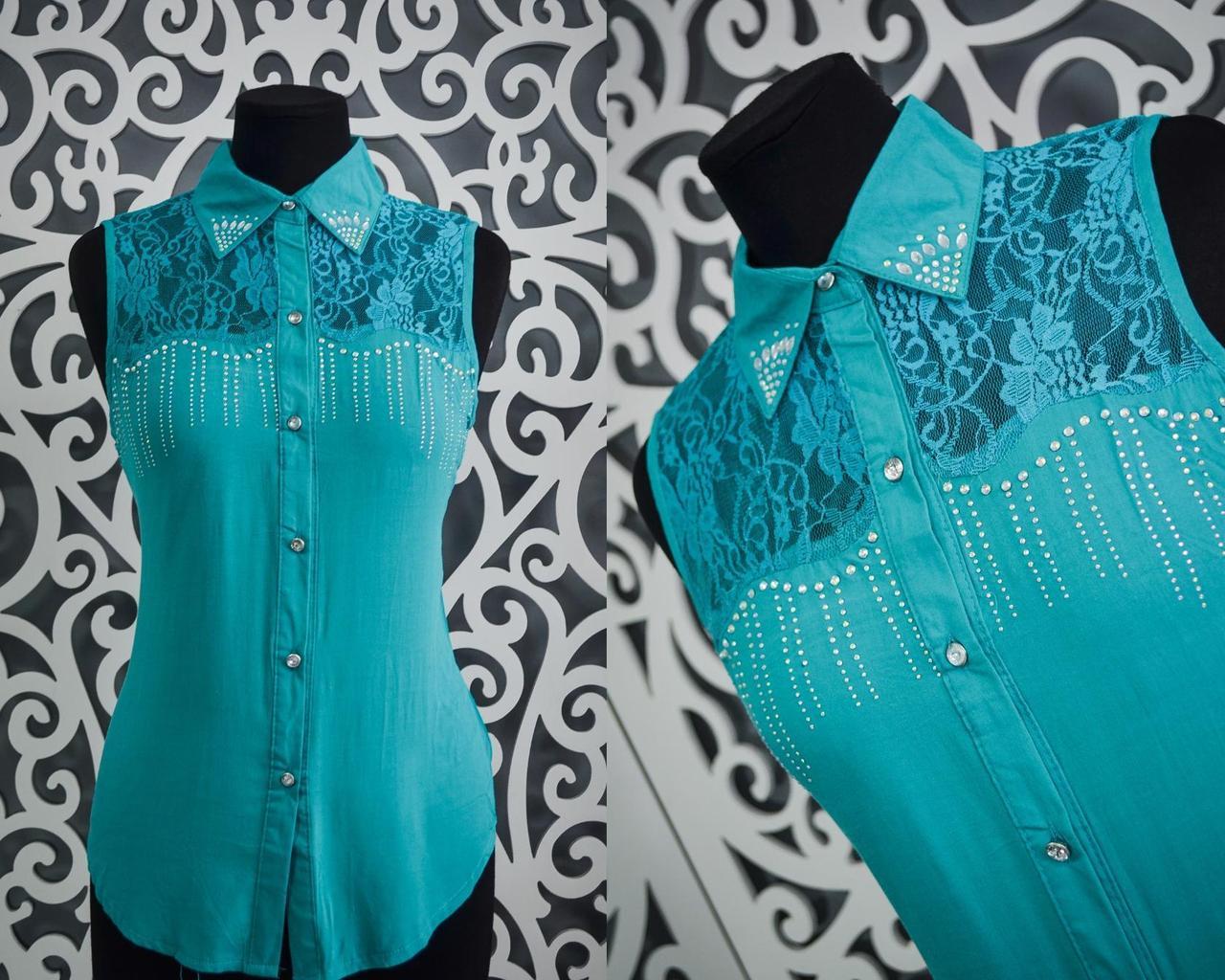 """Милые женские блузки с открытыми плечами """"Бирюза"""" 44, 48 размер норма"""
