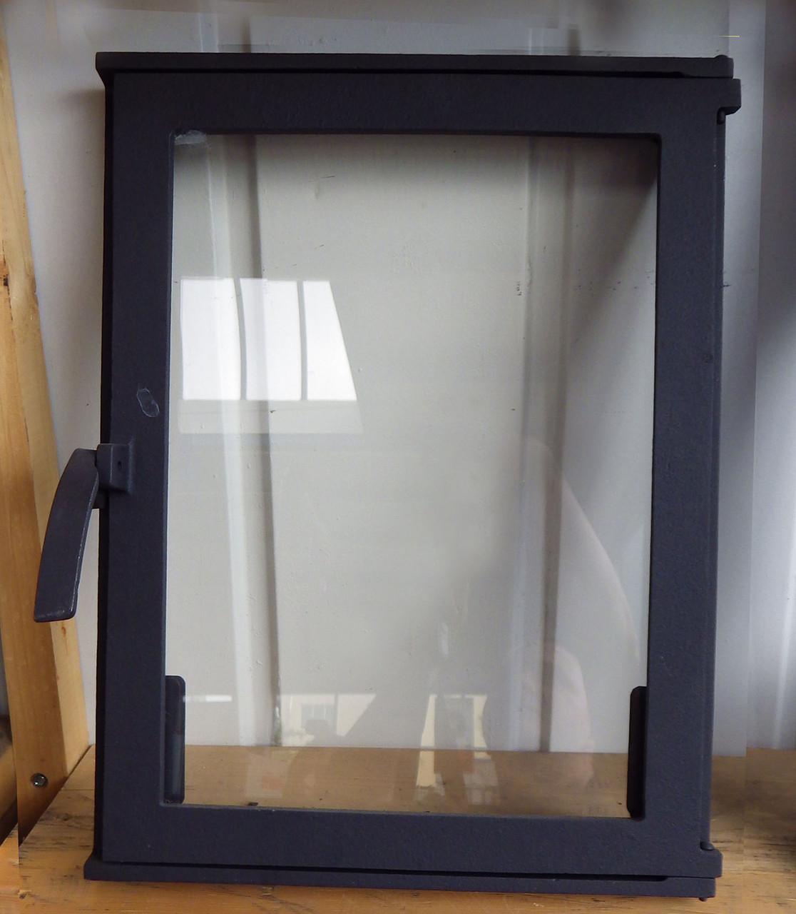 Чугунные дверцы для камина с большим стеклом -VVK 59х40.5см/55х36см