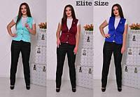 Женский стильный костюм больших размеров: жилет и брюки (6 цветов)
