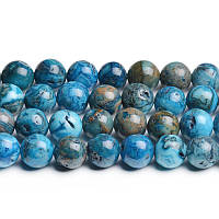 Голубой Марокканский Агат, Натуральный камень, На нитях, бусины 8 мм, Шар, кол-во: 47-48 шт/нить