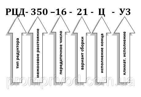 Пример условного обозначения редуктора РЦД-350-16