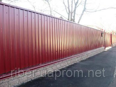 Профнастил ПС 8 - 0,40мм 1200х1700, RAL 3005 (винно-красный)