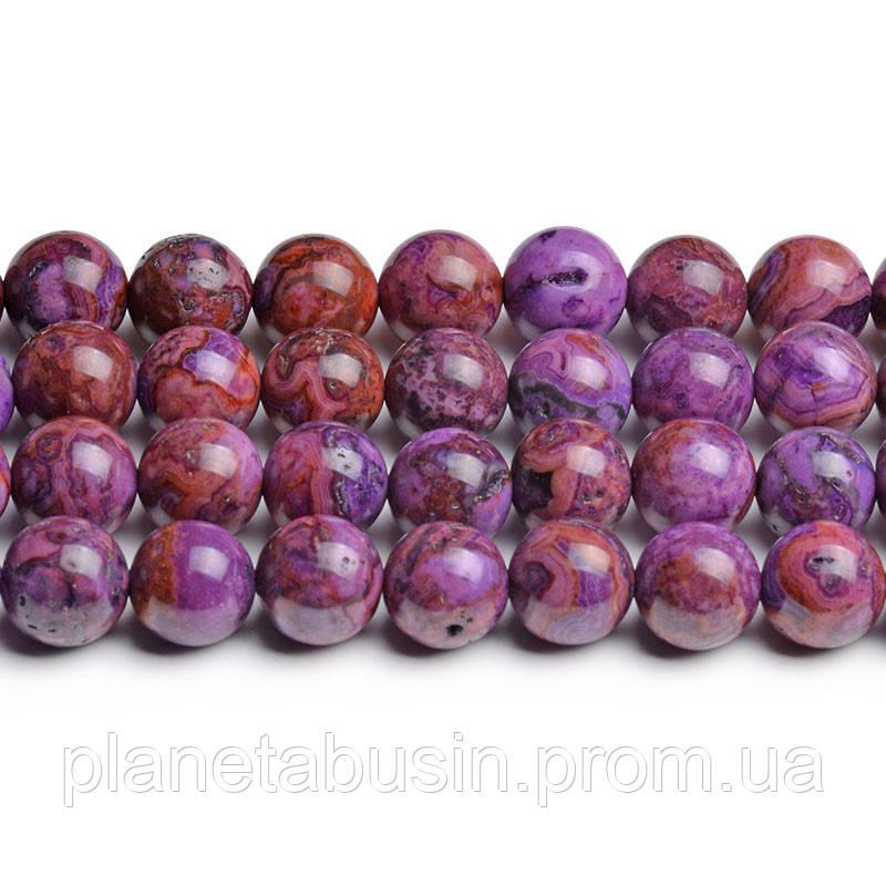 8мм Фиолетовый Марокканский Агат, CN210, Натуральный камень, Форма: Шар, Отверстие: 1мм, кол-во: 47-48 шт/нить