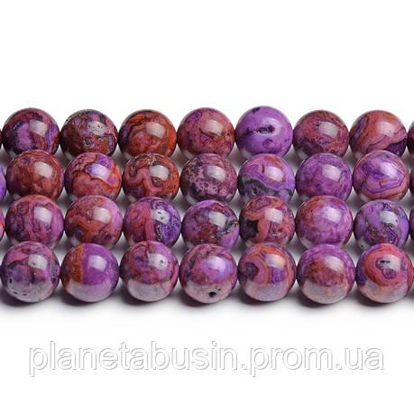8мм Фиолетовый Марокканский Агат, CN210, Натуральный камень, Форма: Шар, Отверстие: 1мм, кол-во: 47-48 шт/нить, фото 2