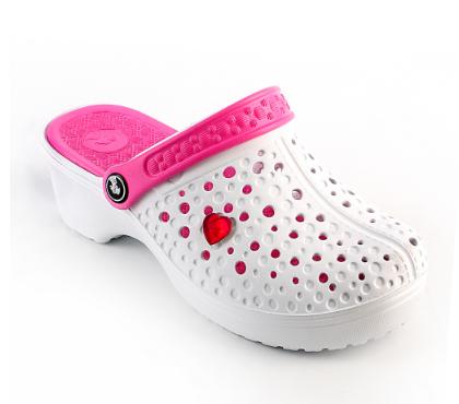 Женские сабо бело-розовые (Код: Сабо JA сердце)