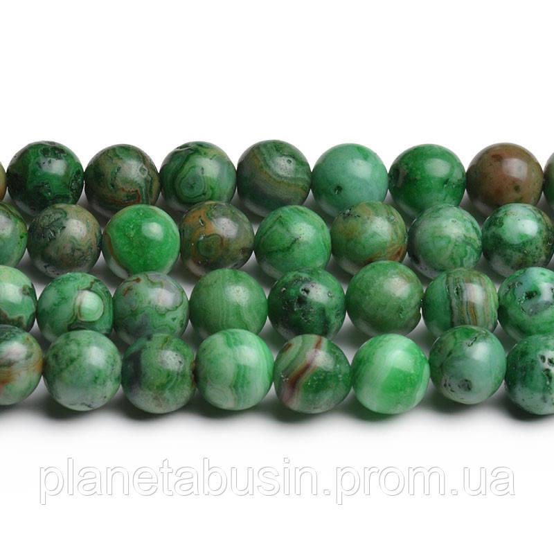 8мм Зелёный Марокканский Агат, CN212, Натуральный камень, Форма: Шар, Отверстие: 1мм, кол-во: 47-48 шт/нить