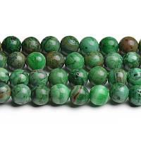 Зелёный Марокканский Агат, Натуральный камень, На нитях, бусины 8 мм, Шар, кол-во: 47-48 шт/нить
