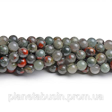 8мм Яшма Кровавик, CN213, Натуральный камень, Форма: Шар, Отверстие: 1мм, кол-во: 47-48 шт/нить, фото 2