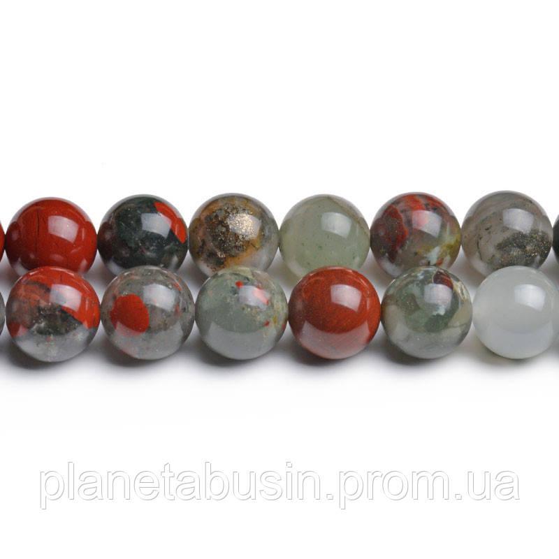 8мм Яшма Кровавик, CN213, Натуральный камень, Форма: Шар, Отверстие: 1мм, кол-во: 47-48 шт/нить