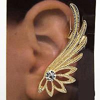 Серьга кафф 0222 золотистого цвета с камнем циркония