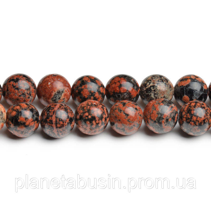 8мм Красный Снежный Обсидиан, CN215, Натуральный камень, Форма: Шар, Отверстие: 1мм, кол-во: 47-48 шт/нить