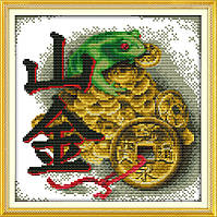 Денежная лягушка Руны Набор для вышивки крестом с печатью на ткани 14ст