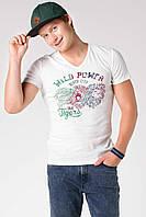 Мужская футболка De Facto белого цвета с надписью на груди Wild power, фото 1