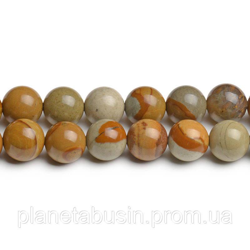 8 мм Американская Яшма, CN216, Натуральный камень, Форма: Шар, Отверстие: 1мм, кол-во: 47-48 шт/нить