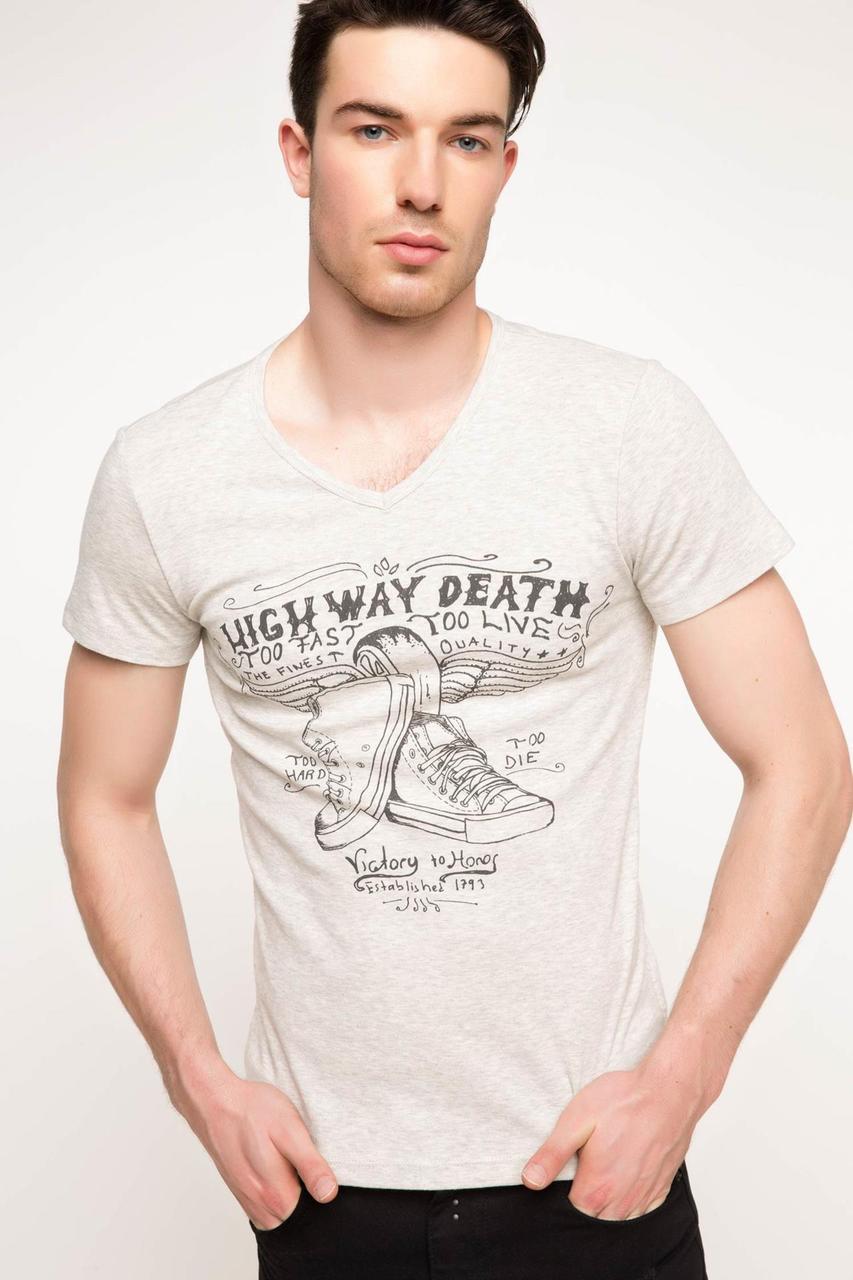 Мужская футболка De Facto бежевого цвета с надписью на груди High way death
