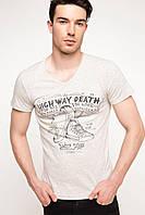 Мужская футболка De Facto бежевого цвета с надписью на груди High way death, фото 1
