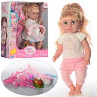 Кукла 30720-10C-18C  42см,зв,горш,фен,бутылочка,мишка-пищалка, 2в,на бат(таб)