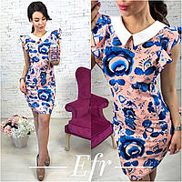 Модное короткое платье с воротником (4 цвета)