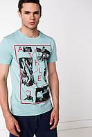Мужская футболка De Facto голубого цвета с надписью на груди Athletic