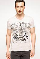 Мужская футболка De Facto бежевого цвета с надписью и рисунком на груди